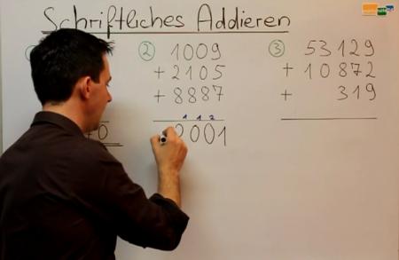 Erklärung im Video: Schriftliche Addition - Länge 4:55 min