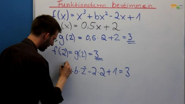 Funktion 3. Grades bestimmen, die von einer Geraden geschnitten wird. Mathenachhilfe online