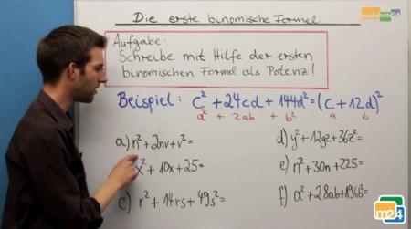 Anwenden der zweiten binomischen Formel