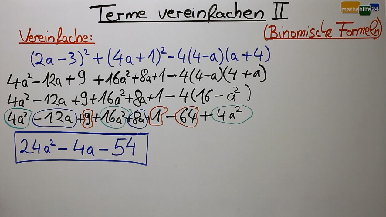 Terme vereinfachen u00bb mathehilfe24