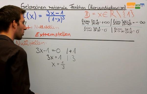 Nullen einer gebrochen rationalen Funktion - Mathe Nachhilfe