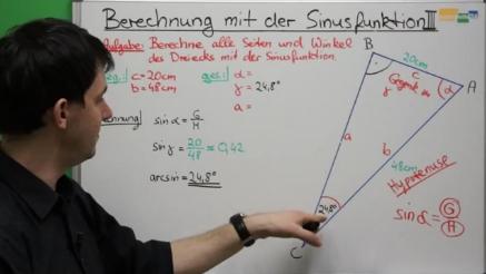 Sinus rechtwinkliges Dreieck Video mathe