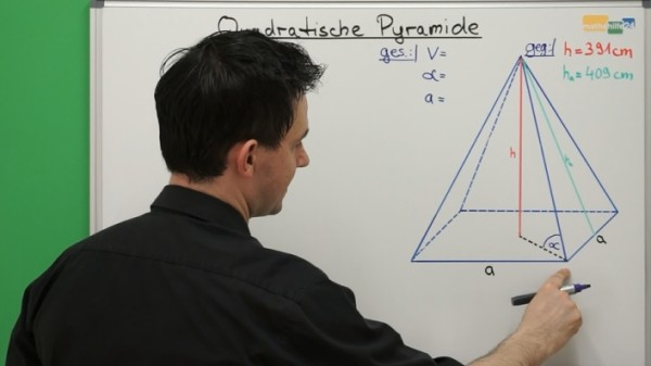 Quadratische Pyramide Volumen Trigonometrie Mathenachhilfe online Videos