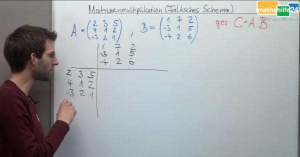 Multiplikation zweier Matrizen mit Hilfe des Falkschen Schemas