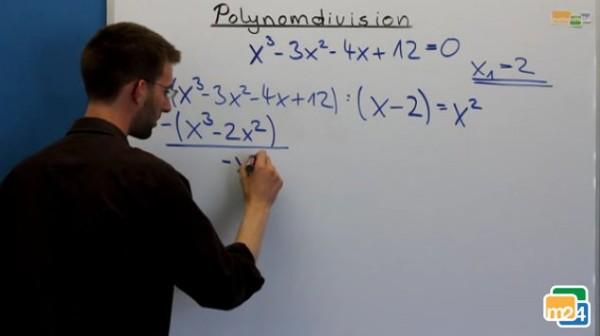 Beispielaufgabe zur Polynomdivision: x³-3x²-4x+12 = 0
