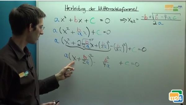Die Mitternachtsformel (auch abc-Formel genannt) wird hergeleitet